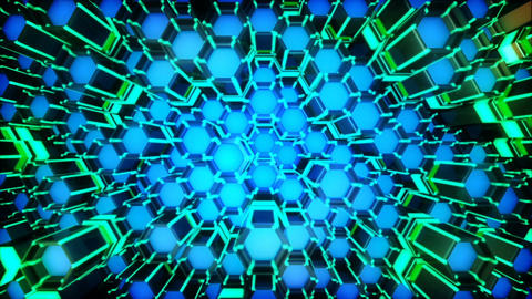 Neon Hexagon Moving Grid Loop Animation