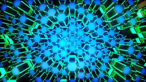 Neon Hexagon Moving Grid Loop Animation