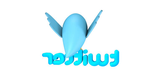 Twitter logo cartoon spin loop Stock Video Footage