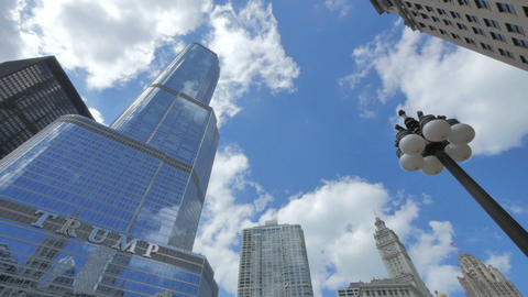 Chicago Trump Tower Skyscraper with Clouds Crossing the Sky Footage