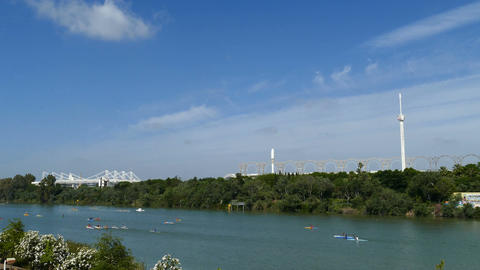 View over canal Alfonso XIII in Seville, canoes on the river Footage