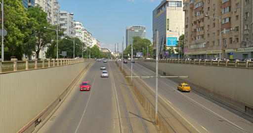 Rush Hour Traffic In Victory Passage In Bucharest Footage
