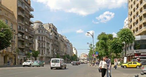 Rush Hour On Gheorghe Magheru Boulevard Of Bucharest Footage