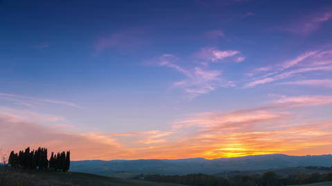 Sunset Over Tuscany. Time Lapse 4K Footage
