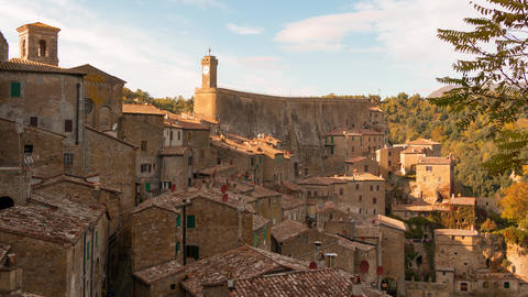 Clouds over Sorano. Time Lapse 4K Footage