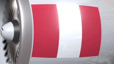 Turbine with flag of Peru. Peruvian air transportation related conceptual 3D Live Action