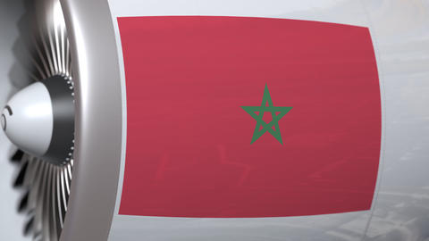 Airplane engine with flag of Morocco. Moroccan air transportation conceptual 3D Live Action
