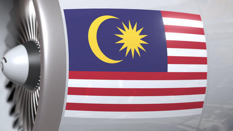 Airplane turbine with flag of Malaysia. Malaysian…, Live Action