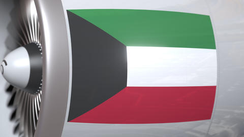 Airplane turbine with flag of Kuwait. Kuwaiti transportation conceptual 3D Footage