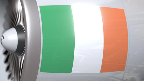 Aircraft engine with flag of Ireland, Irish air transportation related 3D Live Action
