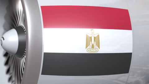 Aircraft engine with flag of Egypt, Egyptian air... Stock Video Footage
