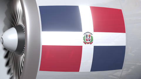 Turbine with flag of Dominican republic. Dominicana air transportation related Footage