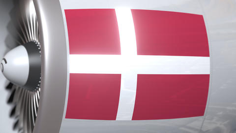 Airplane turbine with flag of Denmark. Danish transportation conceptual 3D Footage