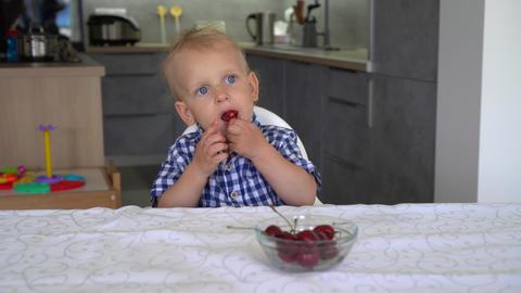 Lovely child eating fresh cherries at home. Gimbal motion shot GIF