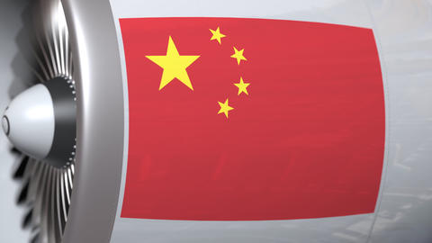 Turbine with flag of China. Chinese air transportation related conceptual 3D Footage