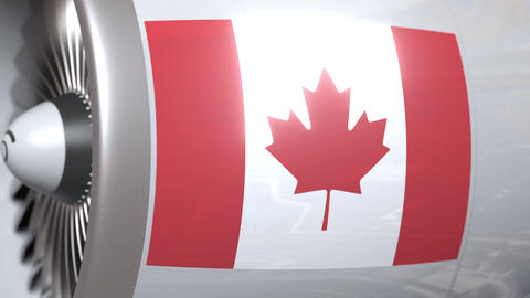 Airplane turbine with flag of Canada. Canadian transportation conceptual 3D Footage