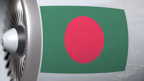 Airplane engine with flag of Bangladesh. Bangladeshi air…, Live Action