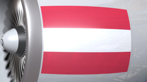 Aircraft engine with flag of Austria, Austrian air transportation related 3D Footage