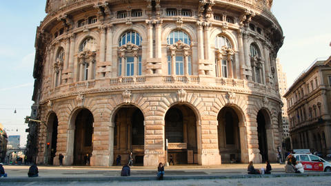 Piazza De Ferrari, the main square of Genoa, located in the heart of the city Footage