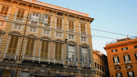 sunset palace in downtown Genoa, famous city for Christopher Columbus Footage