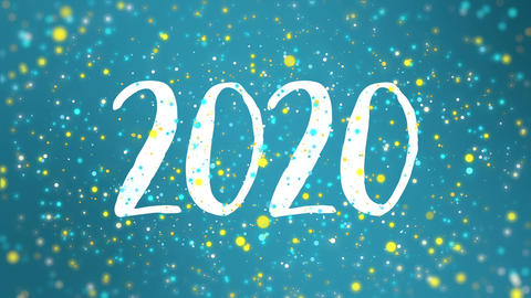 Sparkly blue yellow Happy New Year 2020 greeting card video GIF