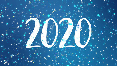 Sparkly blue Happy New Year 2020 greeting card video GIF