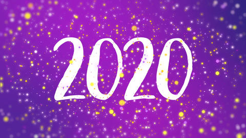 Sparkly purple Happy New Year 2020 greeting card video GIF