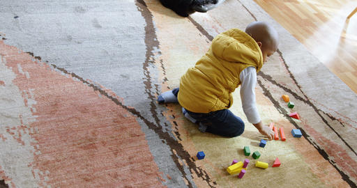 Boy playing with building blocks in a comfortable home 4k Live Action