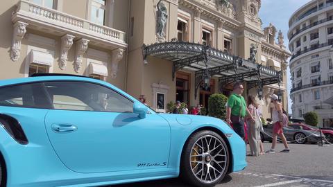 Porsche 911 Parked In Front Of Monte Carlo Casino In Monaco Footage