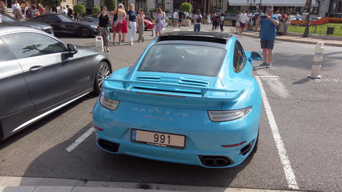 Turquoise Porsche 911 Carrera Turbo S - Rear View Footage