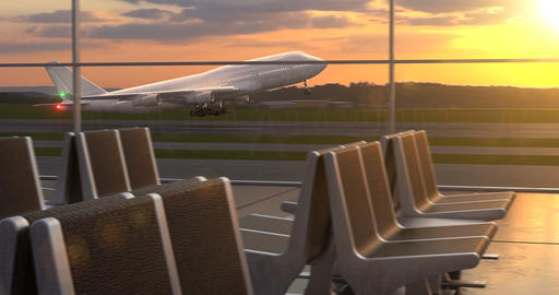 Airplane taking off against scenic sunset seen through departure lounge windows Animation