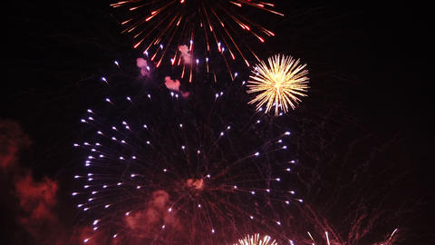 Fireworks exploding on celebration day, above the sky, in public place 4 Footage
