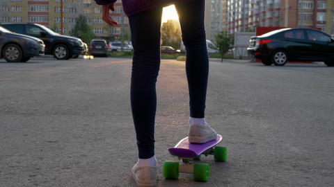 Girl Skateboard Sunset City Sight Leisure Activity Footage