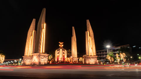 Bangkok / Thailand - May 11 2019: Democracy monument in Thailand get celebration decorated for Live Action