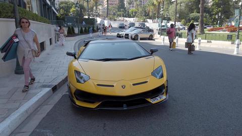 Black And Yellow Lamborghini Aventador Footage