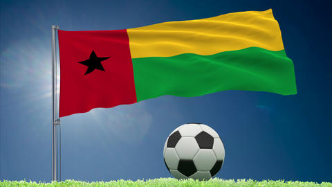 Guinea-Bissau flag fluttering and football rolls Animation