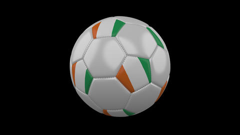 Soccer ball with flag Cote dIvoire - Ivory Coast loop 4k with alpha Animation