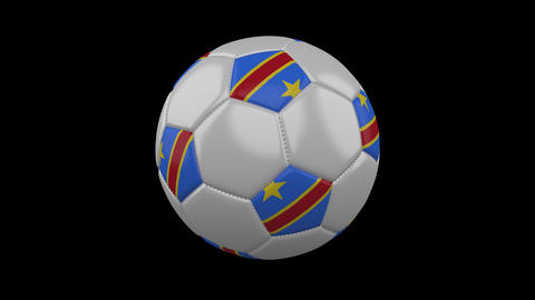 Soccer ball with flag Democratic Republic of Congo loop 4k with alpha Animation