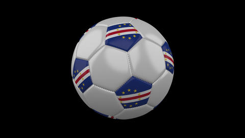Soccer ball with flag Cape Verde loop 4k with alpha Animation