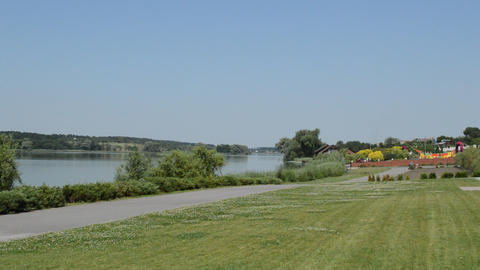 Panorama of the river in the countryside in summer Stock Video Footage