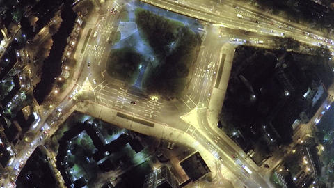 Aerial night view of a Bricklayers Arms round about Footage
