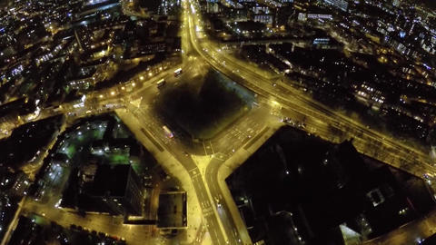 Bricklayes Arms roundabout night view from the air Footage