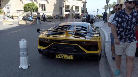 Black And Yellow Lamborghini Aventador - Rear View Footage