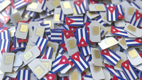 Multiple SIM cards with flag of Cuba. Cuban mobile telecommunications conceptual ビデオ