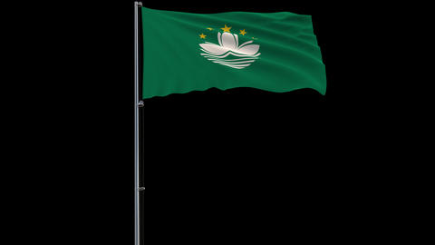 Flag Macau on transparent background, 4k prores 4444 footage with alpha Animation