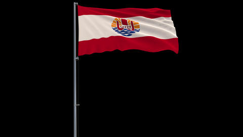 Flag French Polynesia on transparent background, 4k prores 4444 footage with alpha Animation