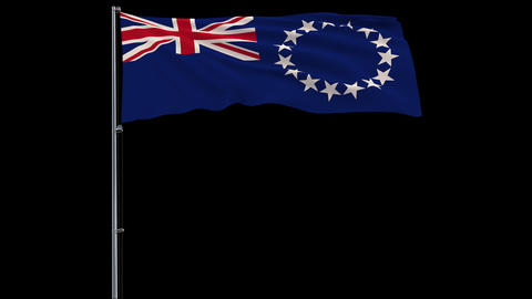 Flag Cook Islands on transparent background, 4k prores 4444 footage with alpha Animation