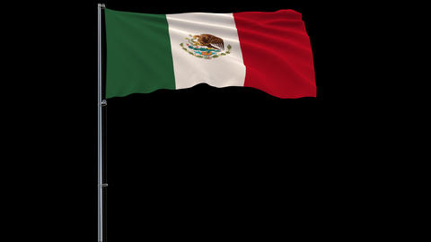 Flag Mexico on transparent background, 4k prores 4444 footage with alpha Animation