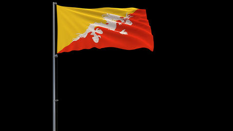 Flag Bhutan on transparent background, 4k prores 4444 footage with alpha Animation