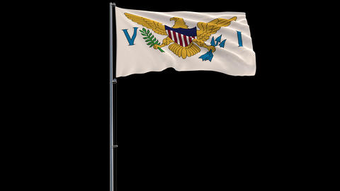 Flag Virgin Islands on transparent background, 4k prores 4444 footage with alpha Animation
